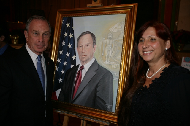 Mayor Bloomberg, his portrait, and New York portrait artist Leokadia Makarska-Cermak. (Photo by Kristen Artz, Mayor's Photographer)