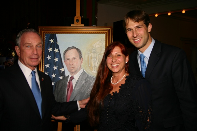 Mayor Bloomberg, his portrait, Leokadia, and her son George. (Photo by Kristen Artz, Mayor's Photographer).