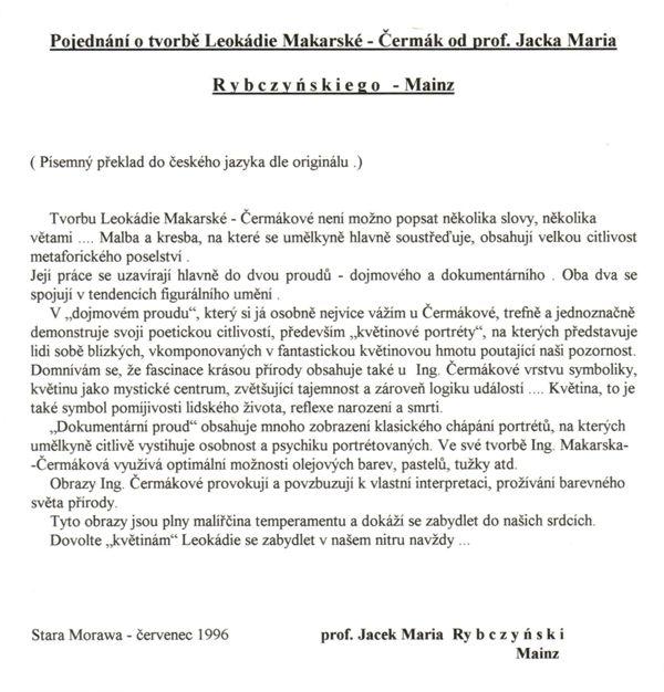 Professor Rybczynski's Review in Czech